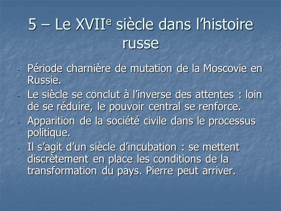 5 – Le XVII e siècle dans lhistoire russe - Période charnière de mutation de la Moscovie en Russie. - Le siècle se conclut à linverse des attentes : l