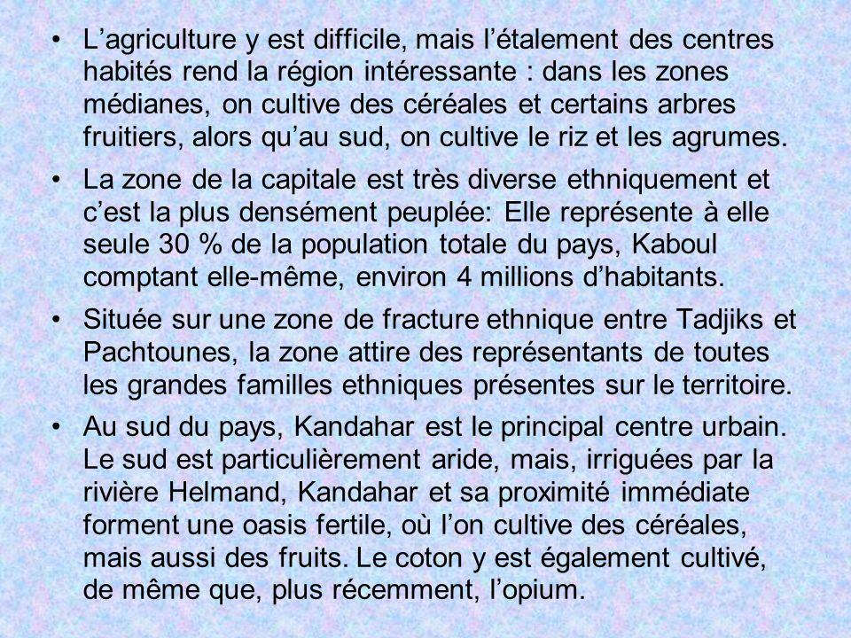 Lagriculture y est difficile, mais létalement des centres habités rend la région intéressante : dans les zones médianes, on cultive des céréales et ce