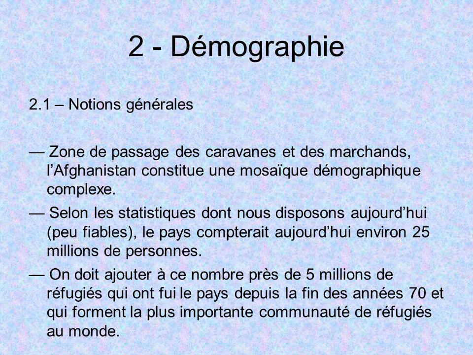 2 - Démographie 2.1 – Notions générales Zone de passage des caravanes et des marchands, lAfghanistan constitue une mosaïque démographique complexe. Se