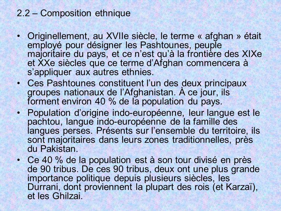 2.2 – Composition ethnique Originellement, au XVIIe siècle, le terme « afghan » était employé pour désigner les Pashtounes, peuple majoritaire du pays