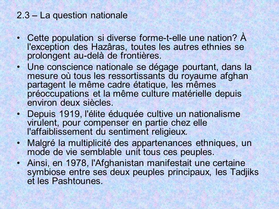 2.3 – La question nationale Cette population si diverse forme-t-elle une nation? À l'exception des Hazâras, toutes les autres ethnies se prolongent au