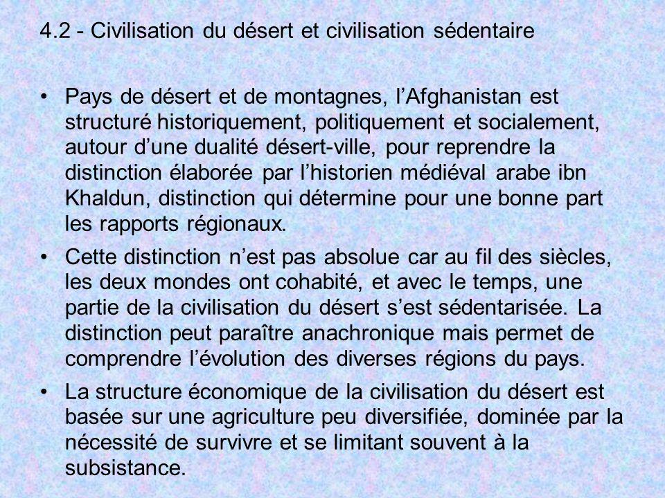 4.2 - Civilisation du désert et civilisation sédentaire Pays de désert et de montagnes, lAfghanistan est structuré historiquement, politiquement et so