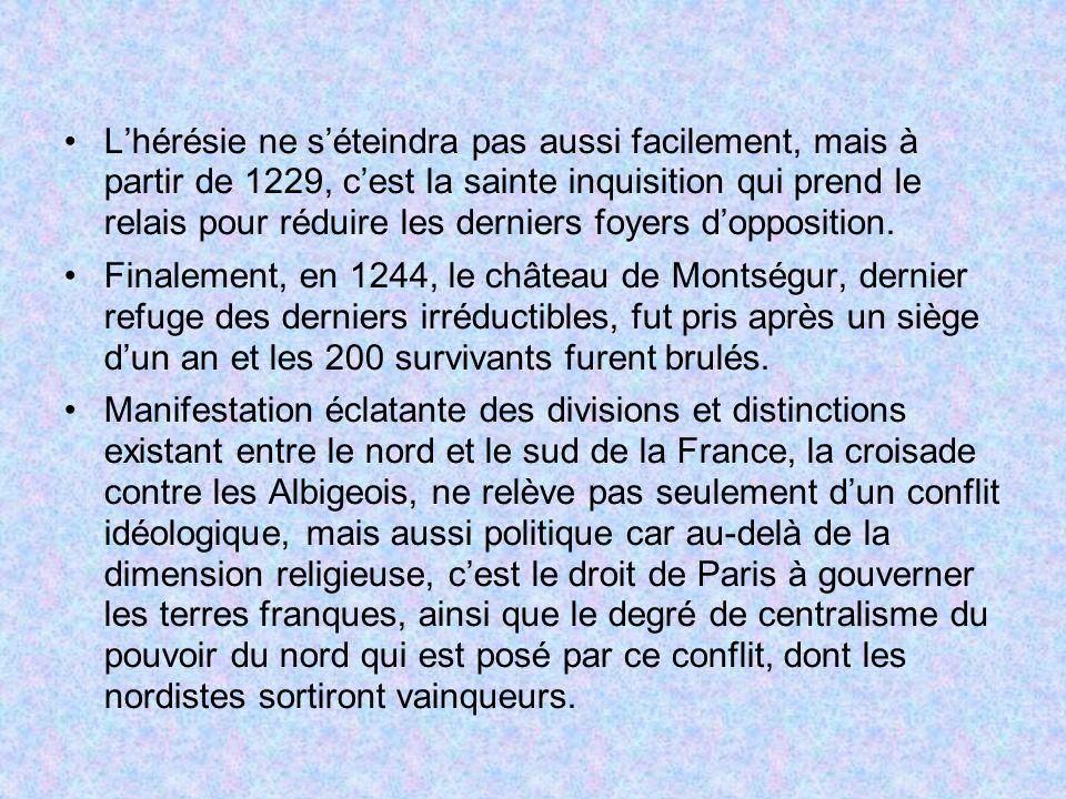 Lhérésie ne séteindra pas aussi facilement, mais à partir de 1229, cest la sainte inquisition qui prend le relais pour réduire les derniers foyers dop