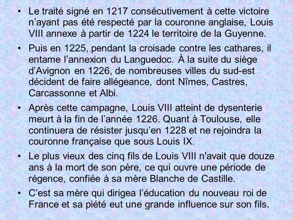 Le traité signé en 1217 consécutivement à cette victoire nayant pas été respecté par la couronne anglaise, Louis VIII annexe à partir de 1224 le terri