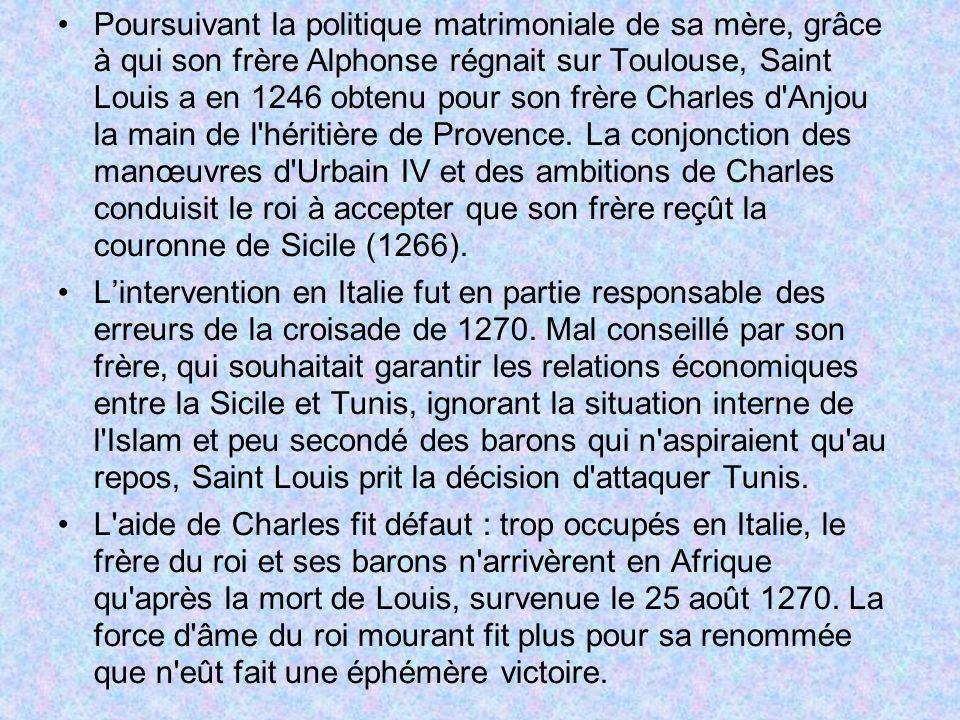 Poursuivant la politique matrimoniale de sa mère, grâce à qui son frère Alphonse régnait sur Toulouse, Saint Louis a en 1246 obtenu pour son frère Cha
