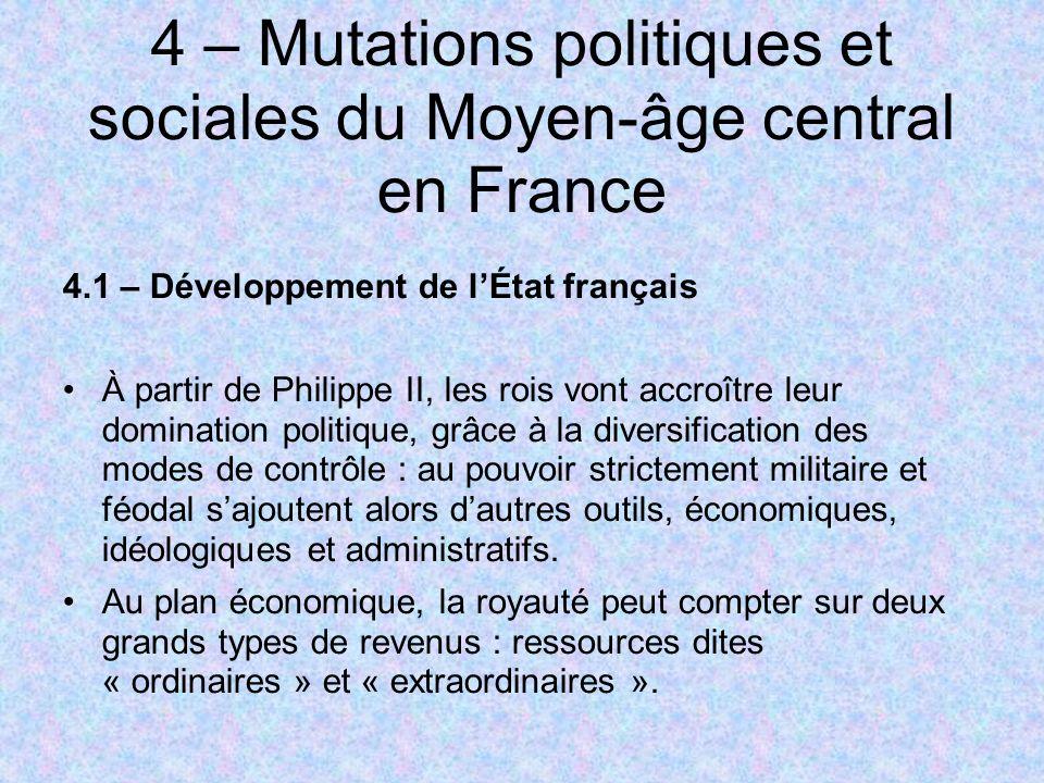 4 – Mutations politiques et sociales du Moyen-âge central en France 4.1 – Développement de lÉtat français À partir de Philippe II, les rois vont accro