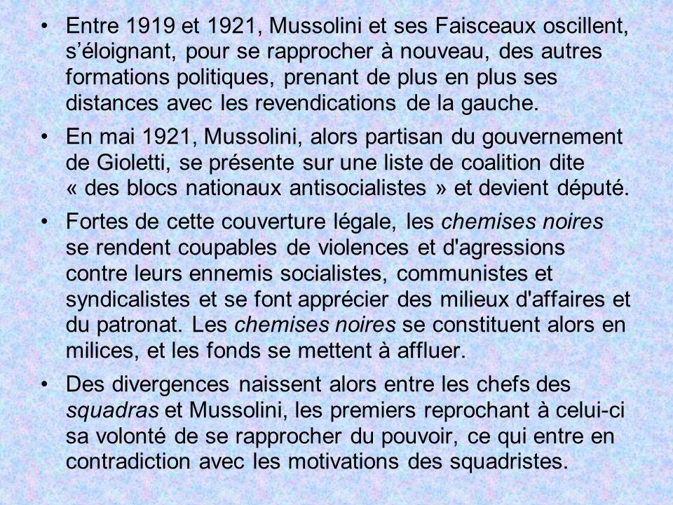 Entre 1919 et 1921, Mussolini et ses Faisceaux oscillent, séloignant, pour se rapprocher à nouveau, des autres formations politiques, prenant de plus en plus ses distances avec les revendications de la gauche.