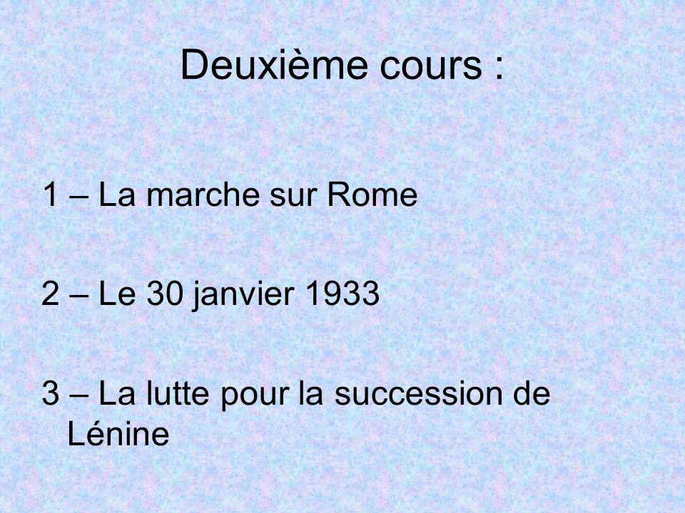 Deuxième cours : 1 – La marche sur Rome 2 – Le 30 janvier 1933 3 – La lutte pour la succession de Lénine