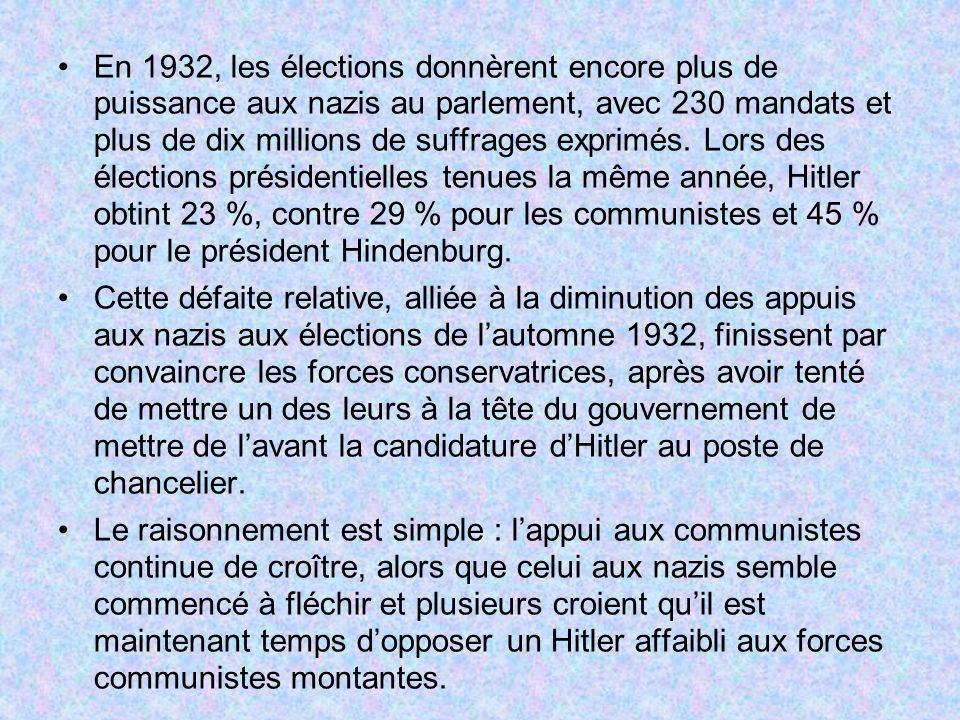 En 1932, les élections donnèrent encore plus de puissance aux nazis au parlement, avec 230 mandats et plus de dix millions de suffrages exprimés. Lors