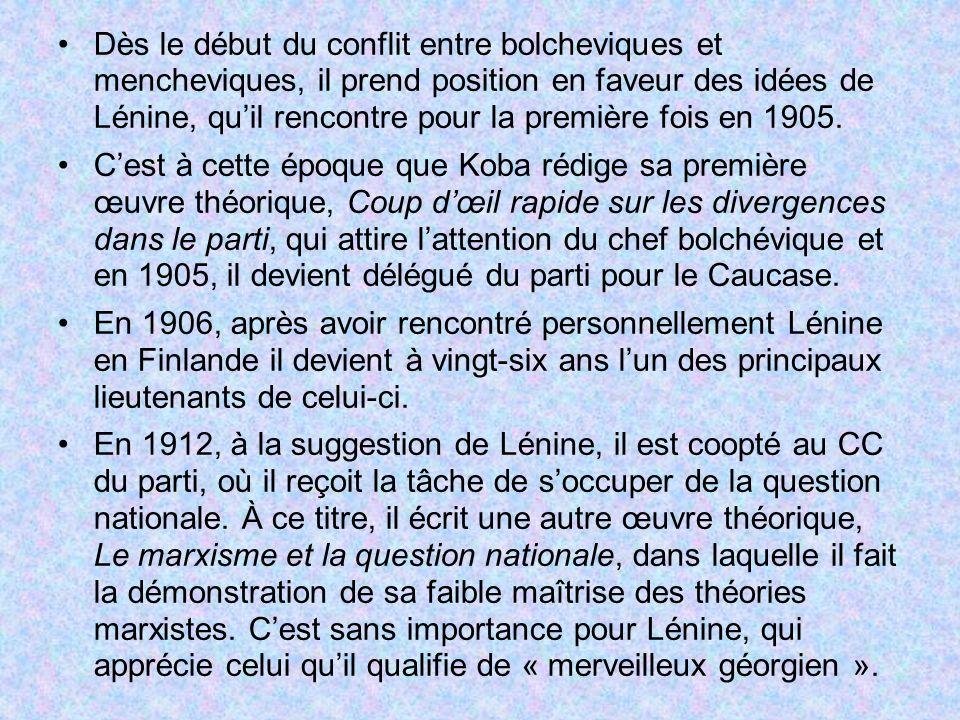 Dès le début du conflit entre bolcheviques et mencheviques, il prend position en faveur des idées de Lénine, quil rencontre pour la première fois en 1