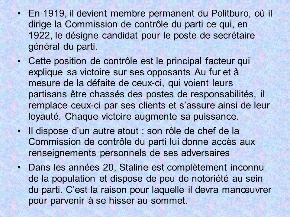 En 1919, il devient membre permanent du Politburo, où il dirige la Commission de contrôle du parti ce qui, en 1922, le désigne candidat pour le poste de secrétaire général du parti.