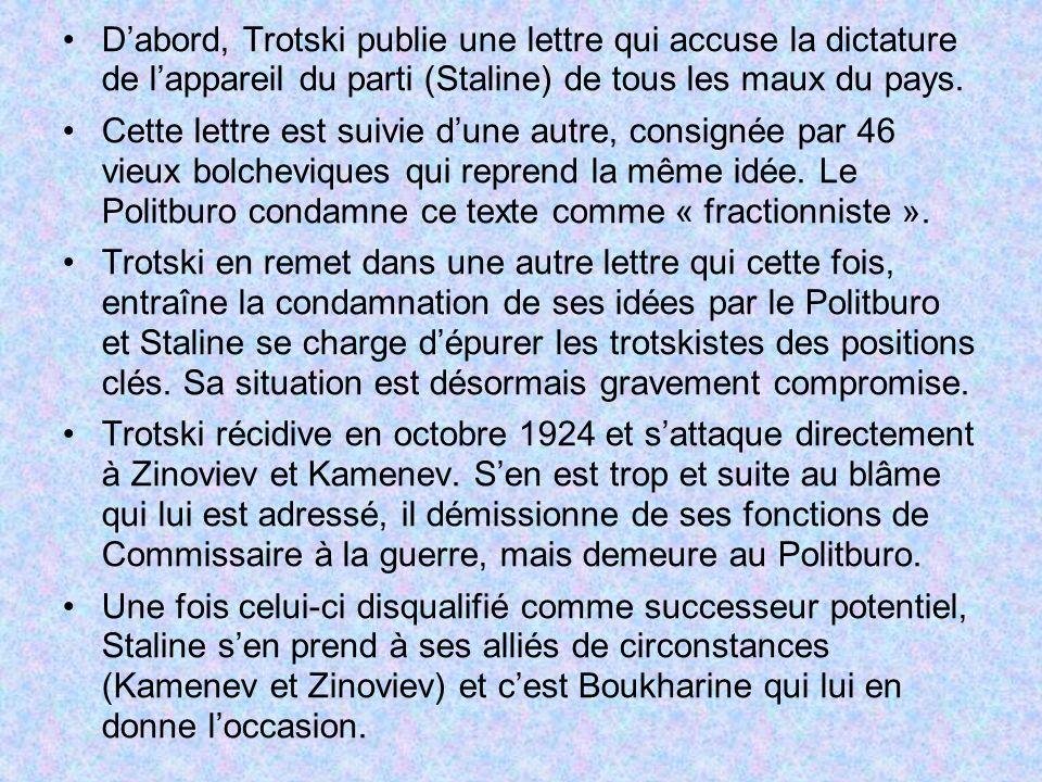 Dabord, Trotski publie une lettre qui accuse la dictature de lappareil du parti (Staline) de tous les maux du pays. Cette lettre est suivie dune autre