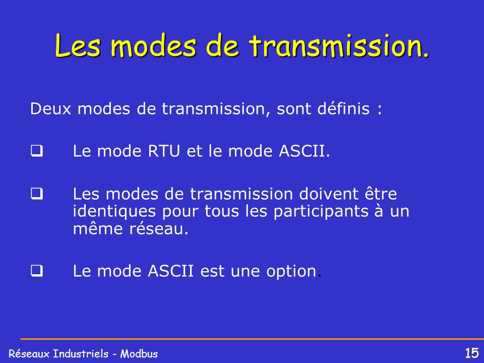 16 Réseaux Industriels - Modbus 16 Modbus frame structure AddressChecksumDataFunction The Modbus frame structure is the same for requests (master to slave messages) and responses (slave to master messages).