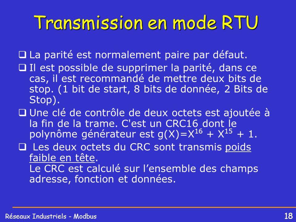 18 Réseaux Industriels - Modbus Transmission en mode RTU La parité est normalement paire par défaut. Il est possible de supprimer la parité, dans ce c