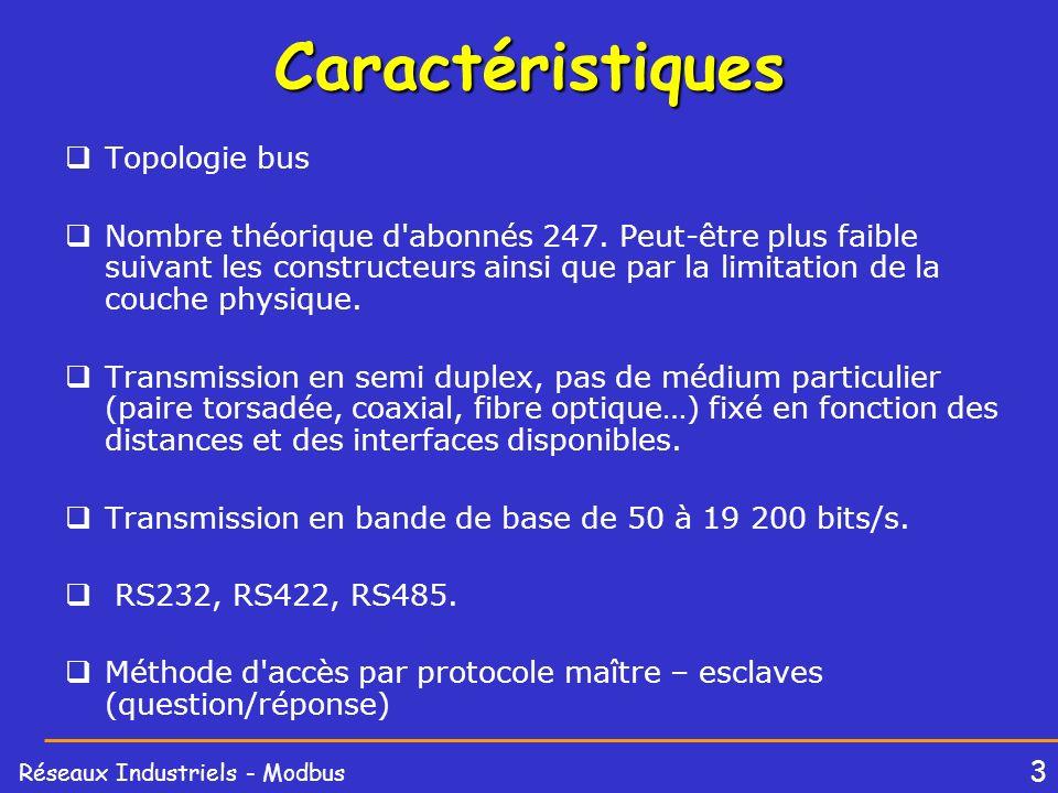 3 Réseaux Industriels - ModbusCaractéristiques Topologie bus Nombre théorique d'abonnés 247. Peut-être plus faible suivant les constructeurs ainsi que