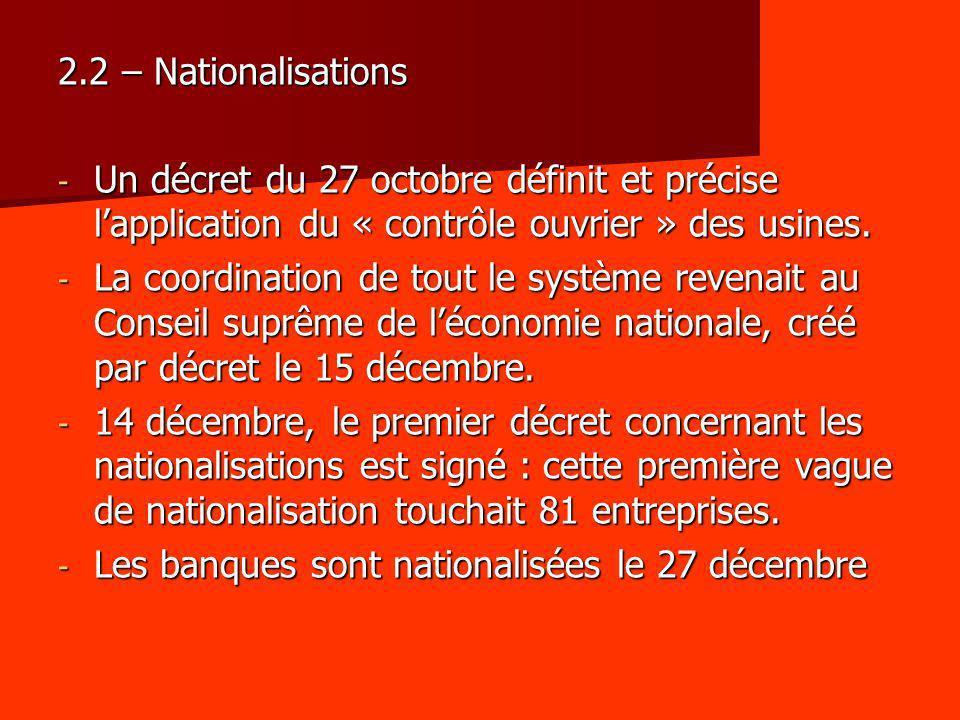 2.2 – Nationalisations - Un décret du 27 octobre définit et précise lapplication du « contrôle ouvrier » des usines. - La coordination de tout le syst