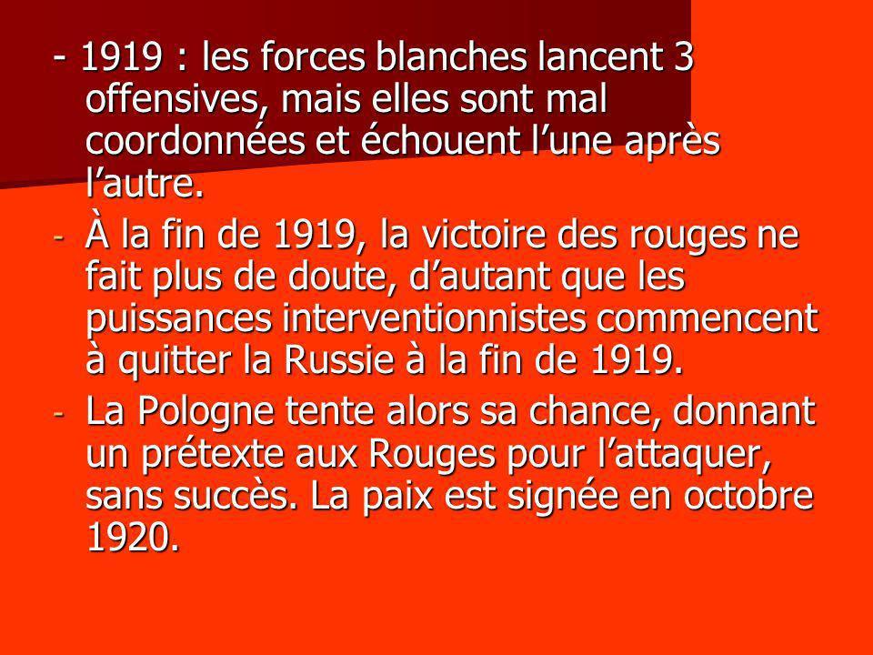 - 1919 : les forces blanches lancent 3 offensives, mais elles sont mal coordonnées et échouent lune après lautre. - À la fin de 1919, la victoire des