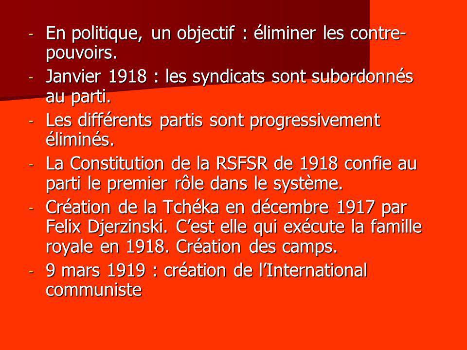 - En politique, un objectif : éliminer les contre- pouvoirs. - Janvier 1918 : les syndicats sont subordonnés au parti. - Les différents partis sont pr