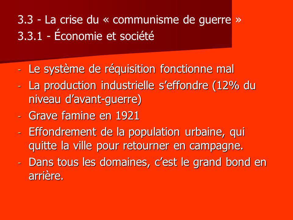 3.3 - La crise du « communisme de guerre » 3.3.1 - Économie et société - Le système de réquisition fonctionne mal - La production industrielle seffond