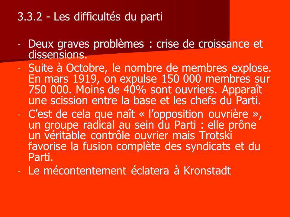 3.3.2 - Les difficultés du parti - - Deux graves problèmes : crise de croissance et dissensions. - - Suite à Octobre, le nombre de membres explose. En