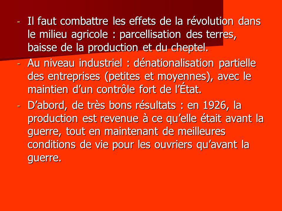 - Il faut combattre les effets de la révolution dans le milieu agricole : parcellisation des terres, baisse de la production et du cheptel. - Au nivea
