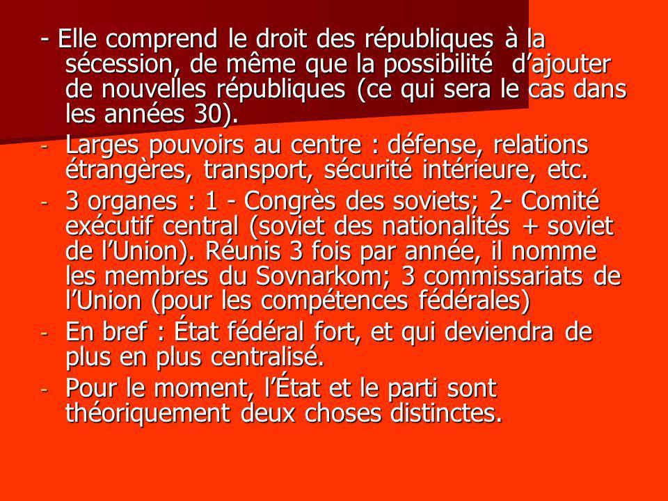 - Elle comprend le droit des républiques à la sécession, de même que la possibilité dajouter de nouvelles républiques (ce qui sera le cas dans les ann