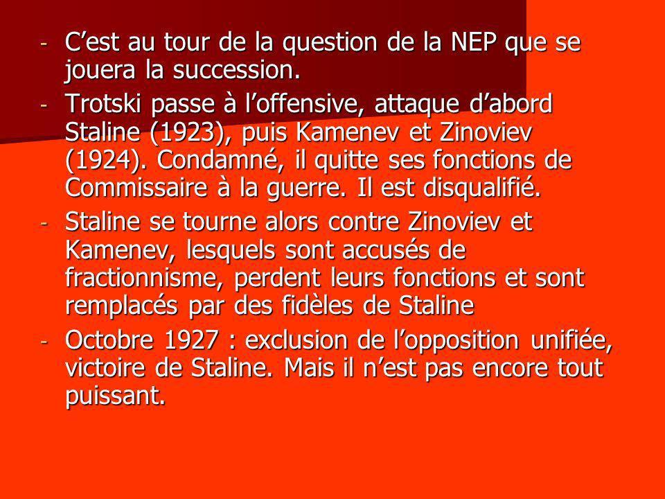 - Cest au tour de la question de la NEP que se jouera la succession. - Trotski passe à loffensive, attaque dabord Staline (1923), puis Kamenev et Zino