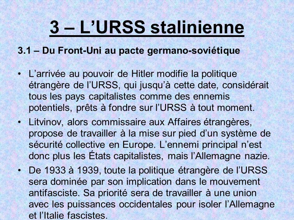 3 – LURSS stalinienne 3.1 – Du Front-Uni au pacte germano-soviétique Larrivée au pouvoir de Hitler modifie la politique étrangère de lURSS, qui jusquà