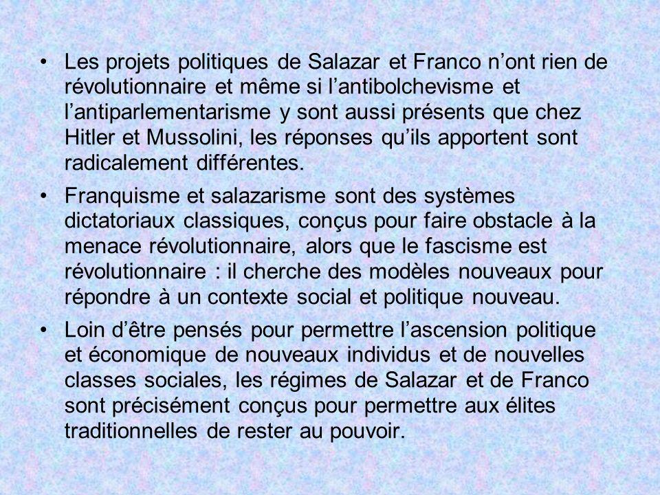 Les projets politiques de Salazar et Franco nont rien de révolutionnaire et même si lantibolchevisme et lantiparlementarisme y sont aussi présents que