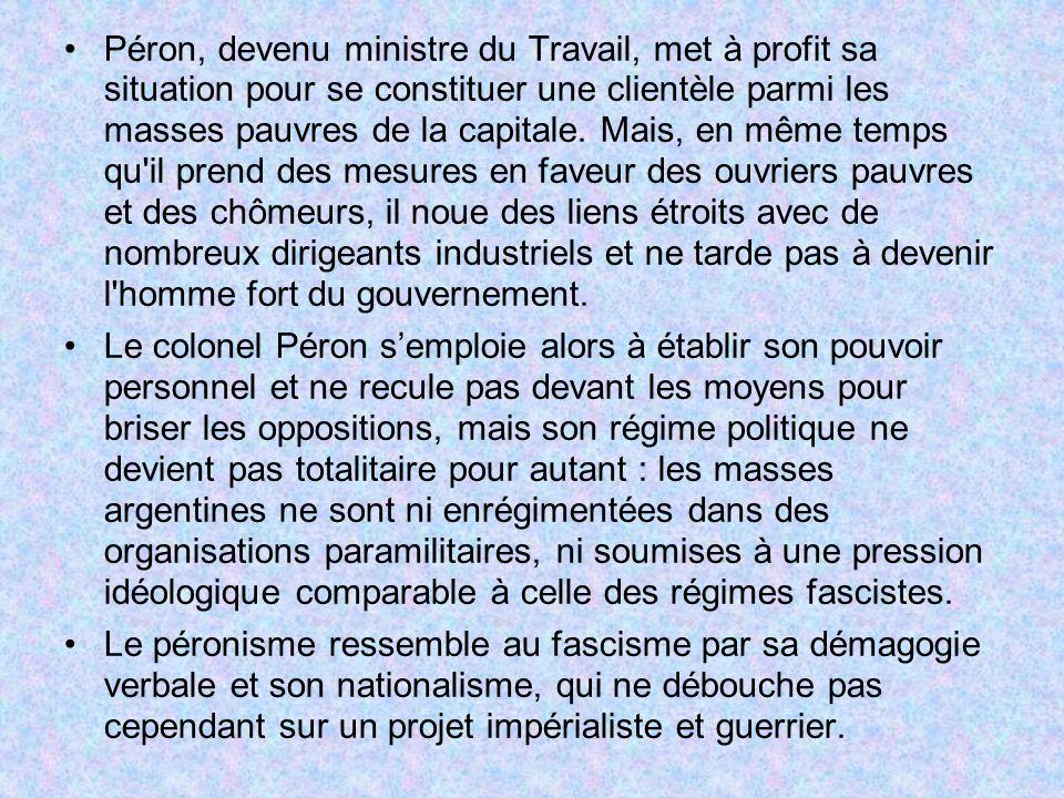 Péron, devenu ministre du Travail, met à profit sa situation pour se constituer une clientèle parmi les masses pauvres de la capitale. Mais, en même t