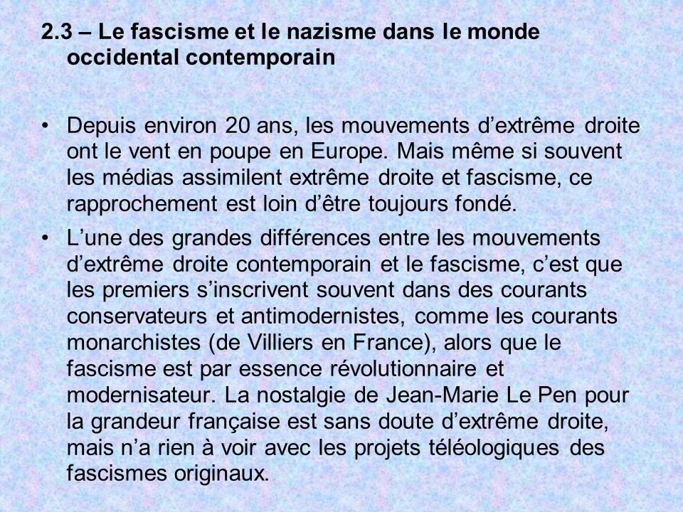 2.3 – Le fascisme et le nazisme dans le monde occidental contemporain Depuis environ 20 ans, les mouvements dextrême droite ont le vent en poupe en Eu