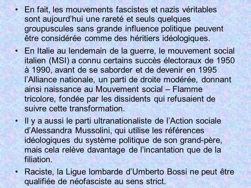 En fait, les mouvements fascistes et nazis véritables sont aujourdhui une rareté et seuls quelques groupuscules sans grande influence politique peuven