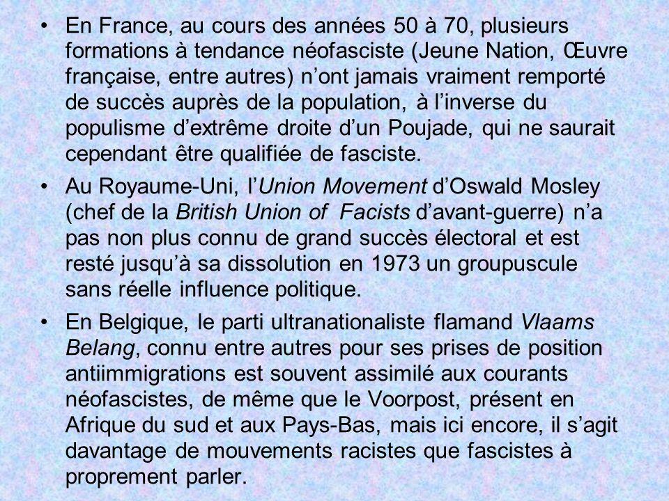 En France, au cours des années 50 à 70, plusieurs formations à tendance néofasciste (Jeune Nation, Œuvre française, entre autres) nont jamais vraiment