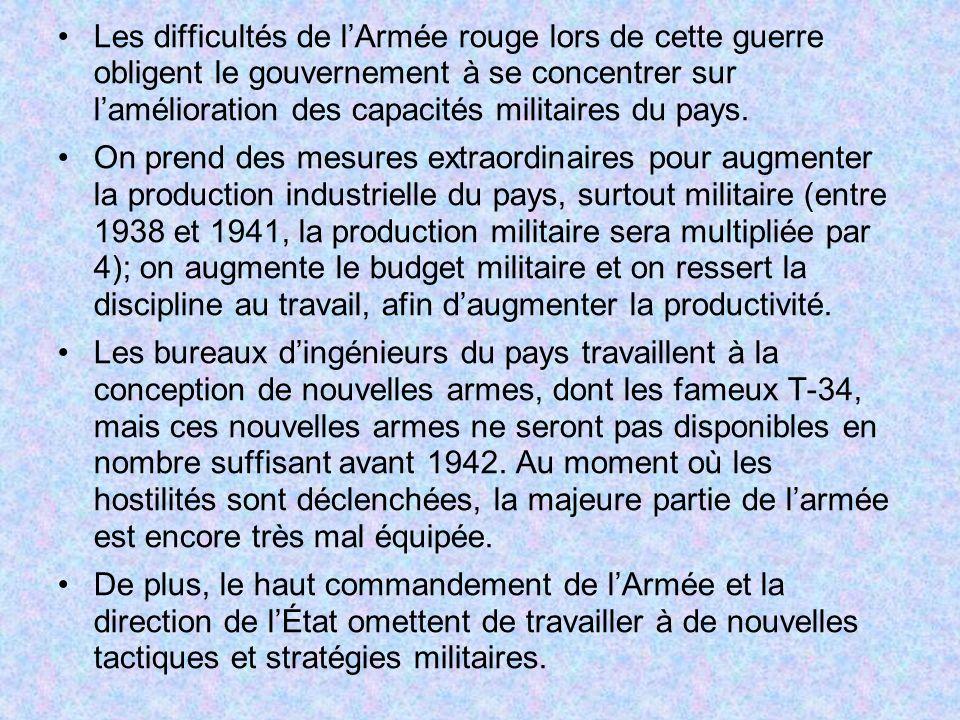 Les difficultés de lArmée rouge lors de cette guerre obligent le gouvernement à se concentrer sur lamélioration des capacités militaires du pays. On p