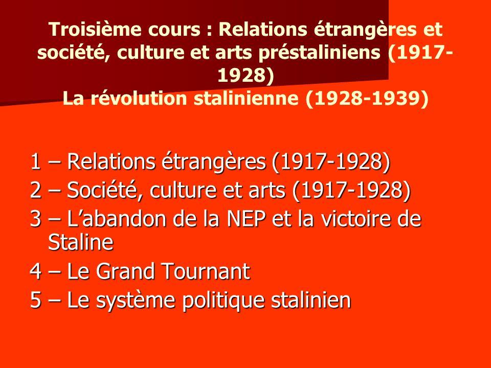 Troisième cours : Relations étrangères et société, culture et arts préstaliniens (1917- 1928) La révolution stalinienne (1928-1939) 1 – Relations étra