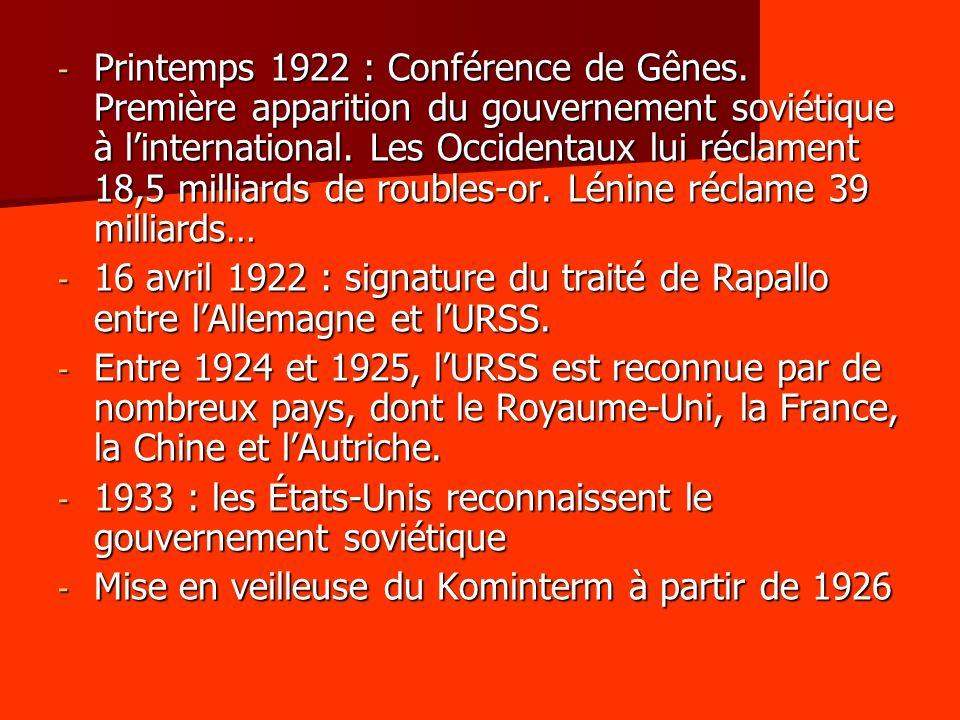 - Printemps 1922 : Conférence de Gênes. Première apparition du gouvernement soviétique à linternational. Les Occidentaux lui réclament 18,5 milliards
