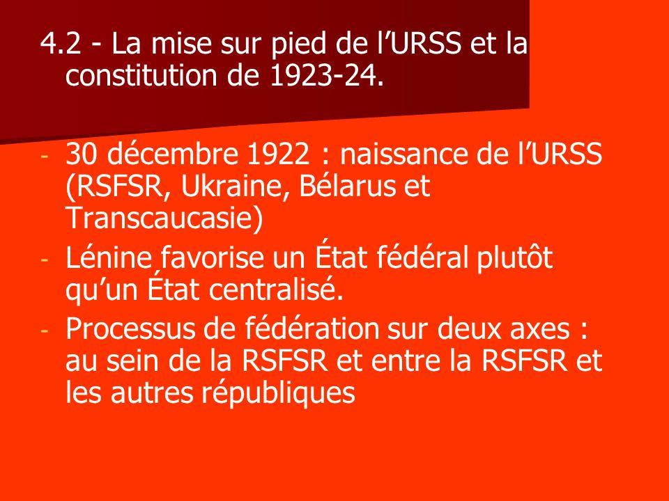 4.2 - La mise sur pied de lURSS et la constitution de 1923-24. - - 30 décembre 1922 : naissance de lURSS (RSFSR, Ukraine, Bélarus et Transcaucasie) -