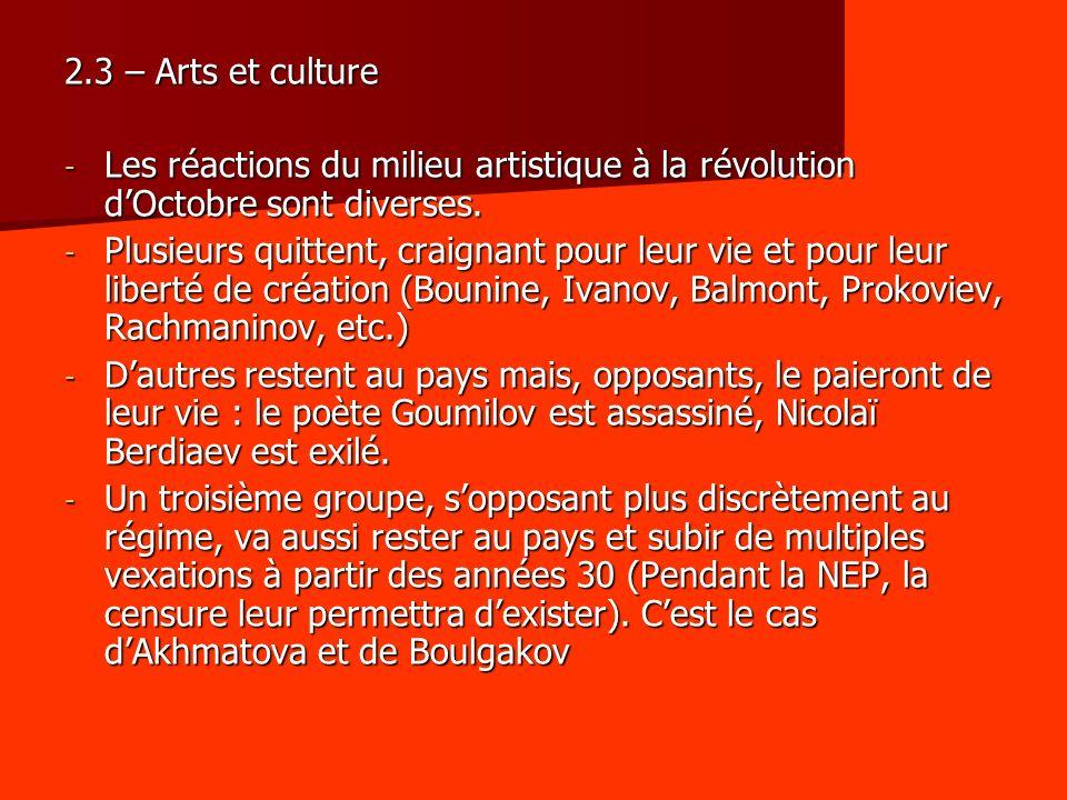 2.3 – Arts et culture - Les réactions du milieu artistique à la révolution dOctobre sont diverses. - Plusieurs quittent, craignant pour leur vie et po