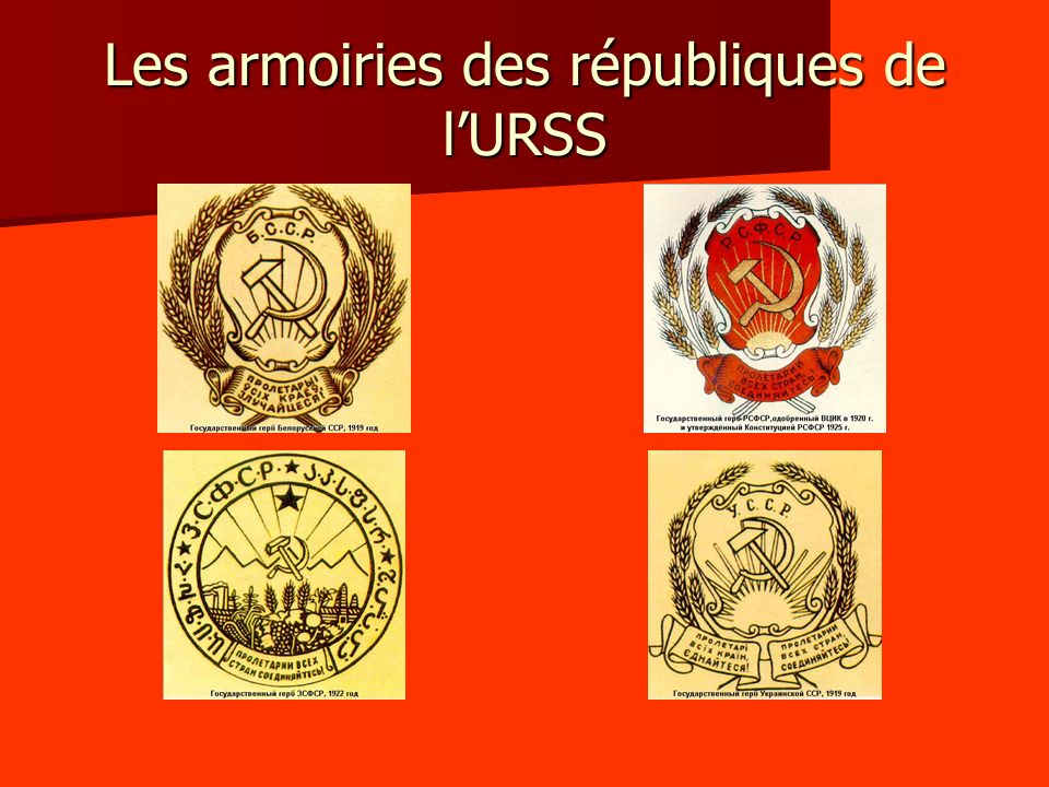 - Au sein de la RSFSR : entre 1918 et 1922, création dune multitude de républiques autonomes (nationales) - Lautre axe est plus complexe : dabord des ententes bilatérales avec la RSFSR.