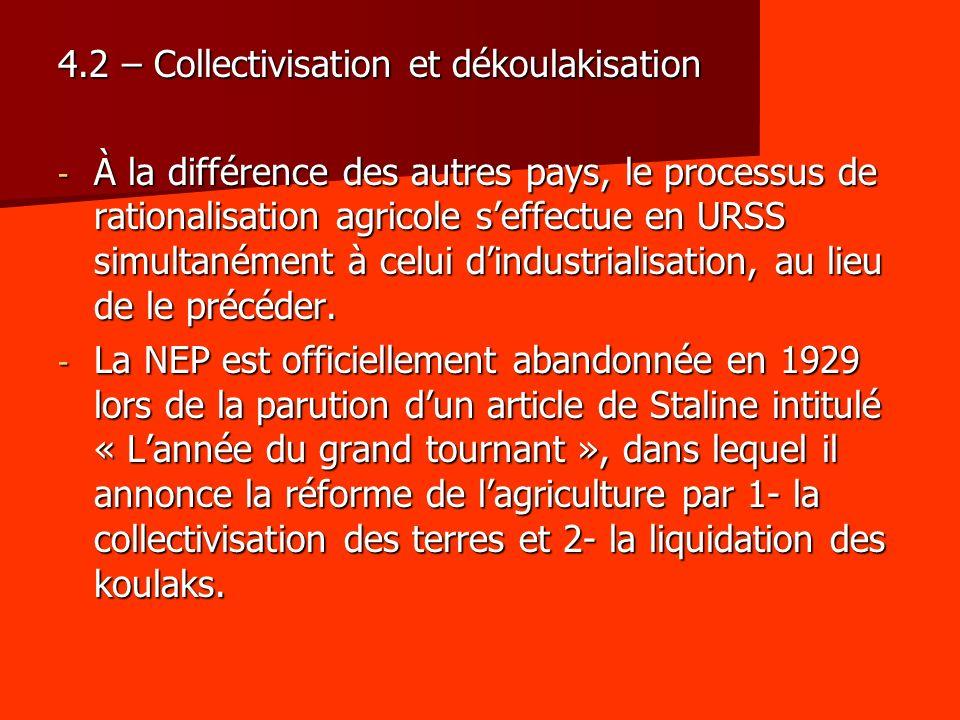 4.2 – Collectivisation et dékoulakisation - À la différence des autres pays, le processus de rationalisation agricole seffectue en URSS simultanément