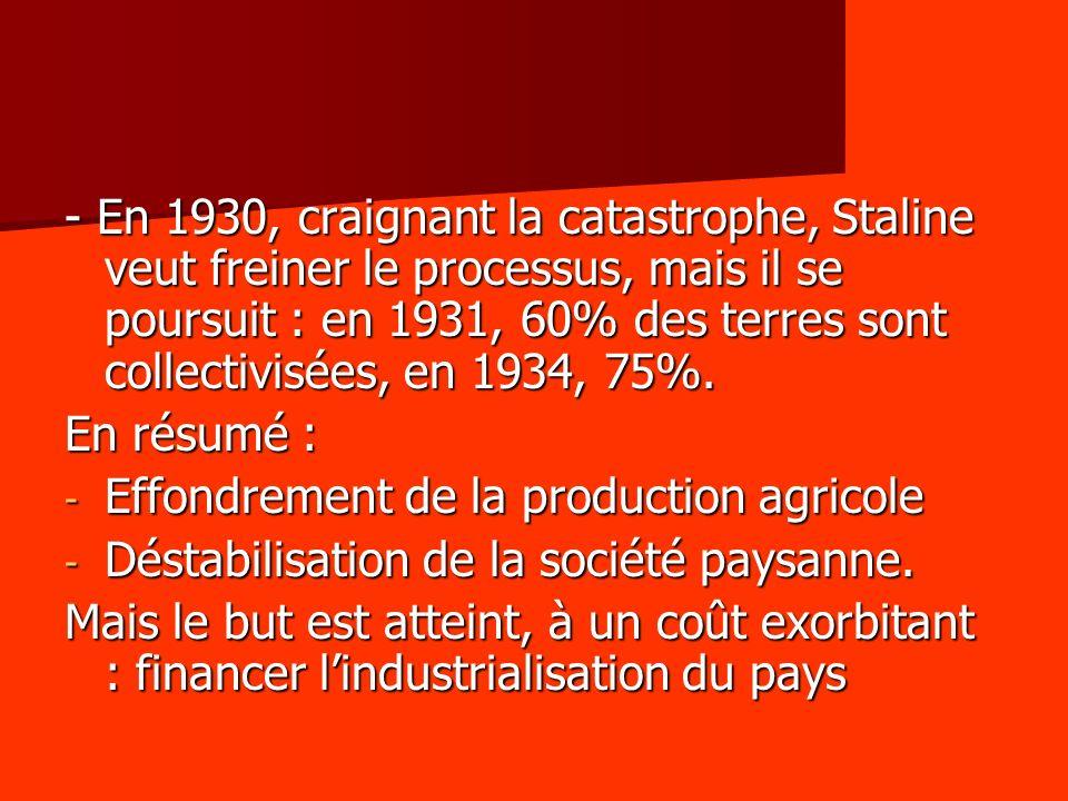 - En 1930, craignant la catastrophe, Staline veut freiner le processus, mais il se poursuit : en 1931, 60% des terres sont collectivisées, en 1934, 75