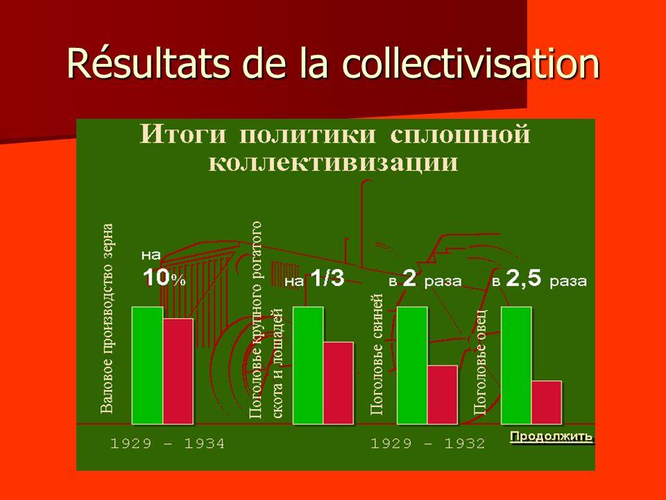 Résultats de la collectivisation