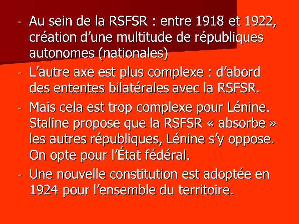 - Au sein de la RSFSR : entre 1918 et 1922, création dune multitude de républiques autonomes (nationales) - Lautre axe est plus complexe : dabord des