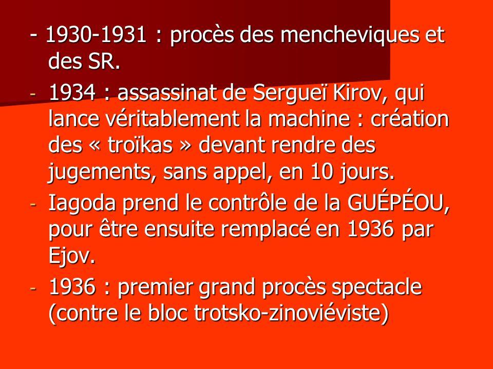 - 1930-1931 : procès des mencheviques et des SR. - 1934 : assassinat de Sergueï Kirov, qui lance véritablement la machine : création des « troïkas » d
