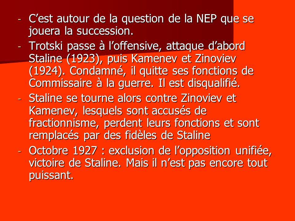 - Cest autour de la question de la NEP que se jouera la succession. - Trotski passe à loffensive, attaque dabord Staline (1923), puis Kamenev et Zinov