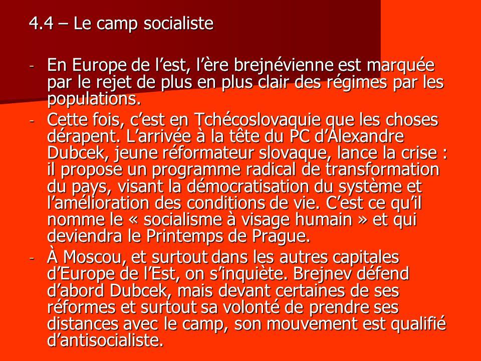 4.4 – Le camp socialiste - En Europe de lest, lère brejnévienne est marquée par le rejet de plus en plus clair des régimes par les populations. - Cett