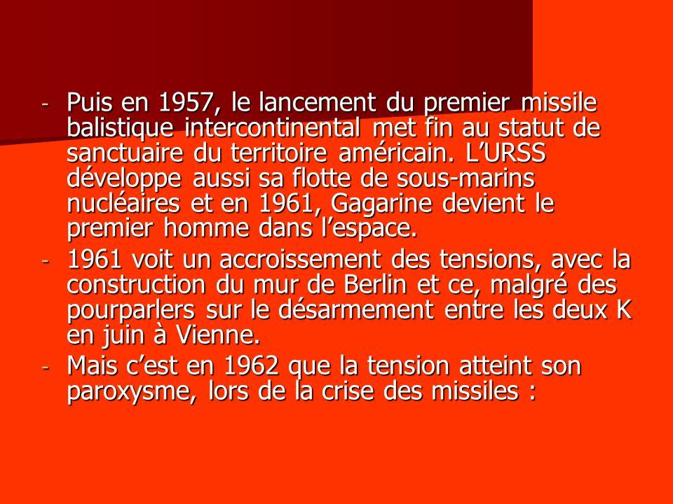 - Puis en 1957, le lancement du premier missile balistique intercontinental met fin au statut de sanctuaire du territoire américain. LURSS développe a