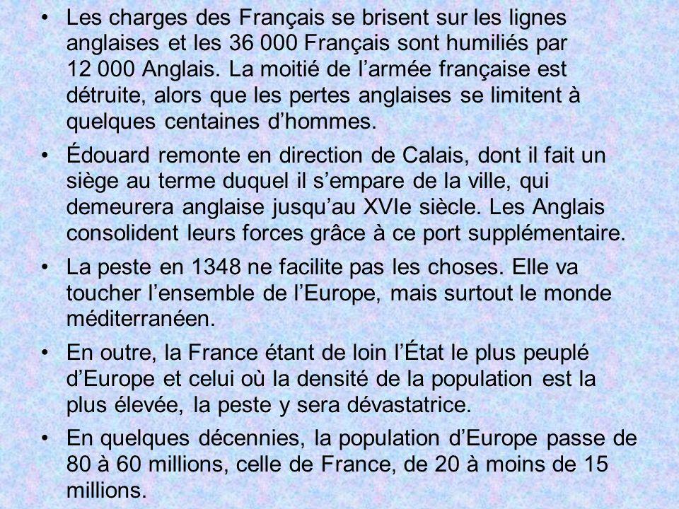 Les charges des Français se brisent sur les lignes anglaises et les 36 000 Français sont humiliés par 12 000 Anglais.