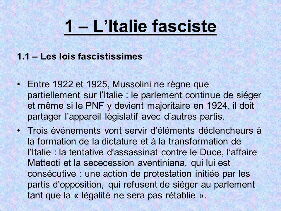 1 – LItalie fasciste 1.1 – Les lois fascistissimes Entre 1922 et 1925, Mussolini ne règne que partiellement sur lItalie : le parlement continue de sié