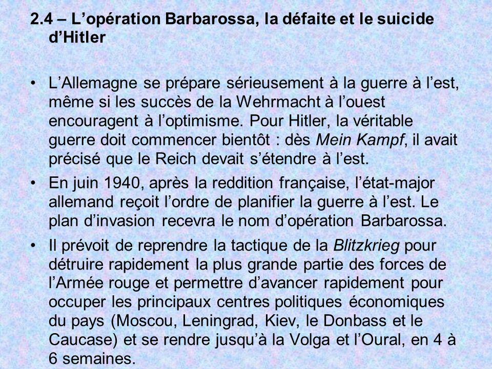 2.4 – Lopération Barbarossa, la défaite et le suicide dHitler LAllemagne se prépare sérieusement à la guerre à lest, même si les succès de la Wehrmach
